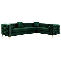 """Jeannie 120"""" Velvet Corner Sectional Sofa, Hunter Green, Right Facing"""