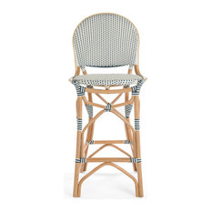 Rattan Bistro Bar Chair White And Blue Barstool