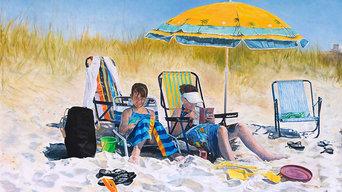 """""""Symphony of Shadows (The Beach Scene)"""" oil on canvas, 5ft x 6ft"""