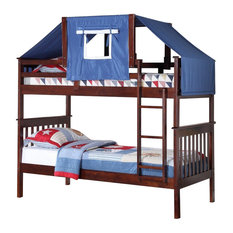 Logan Bunk Bed Tent Kit in Blue, Cappuccino Finish, Blue Tent With White Frame