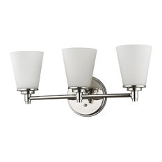 Conti 3-Light Bath Vanity, Polished Nickel Frosted/White Glass