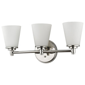Conti Indoor 3-Light Bath With Glass Shades, Polished Nickel