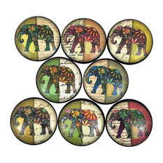 8 Piece Set Elephant Print Cabinet Knobs