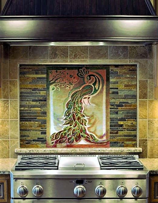 Kitchen Backsplash - Custom Tile: The Peacock