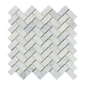 "12""x12"" Oriental White Marble Herringbone Mosaic, Honed, Set of 10"