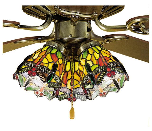 Meyda lighting 27472 4w tiffany hanginghead dragonfly fan light shade
