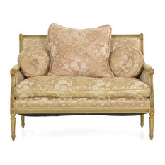 Consigned French Louis XVI Style White Painted Antique Sofa Settee Loveseat