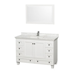 Single Bathroom Vanity Set, Countertop, White, White Carrara Marble, 48""