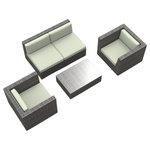 Urban Furnishing - Belize Outdoor Backyard Wicker Rattan Patio Furniture, 5-Piece Set, Beige - - Designer Gray Wicker Pattern