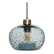 Mini Pendant Light Handblown Rustic Seeded Glass Hanging Light, Blue