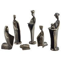Danya B 6-Piece Iron Nativity Sculpture Set, Family and Kings