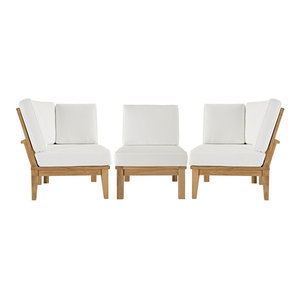 Marina Outdoor Patio Teak Sofa Set Of 2 Contemporary Outdoor Sofas By Zfurniture
