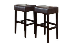 GDF Studio Duff Backless Brown Leather Bar Stools, Set of 2