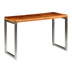 VidaXL Solid Sheesham Wood Dining Table With Steel Legs
