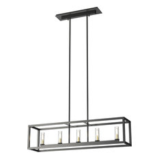 Sambre 5-Light Linear Chandelier, Graphite With Clear Glass