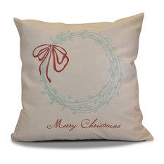 "Decorative Holiday Outdoor Pillow, Word Print, Aqua, 16""x16"""