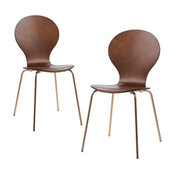 Versanora Contorno Bentwood Chairs, Set of 2, Walnut/Rose Gold