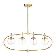 Piltz 4 Light Island Light in Satin Brass