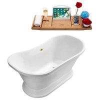 "60"" Soaking Free Standing Tub With External Drain, White/Chrome"
