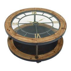 Benzara Classic Metal Wood Clock Coffee Table