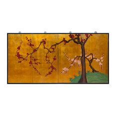 4-Piece Gold Leaf Cherry Blossom Tree Wall Plaque Set
