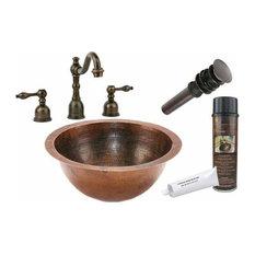 Undermount Round Copper Sink w/ORB Faucet