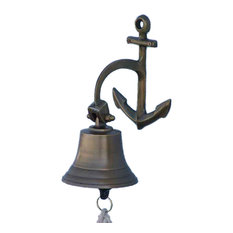 Antique Brass Hanging Anchor Bell 8'', Brass Bell, Nautical Decor