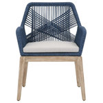 Essentials for Living - Loom Arm Chair, Set of 2 - Transitional style arm chair featuring removable upholstered seat cushion and intricate rope weave design.