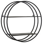 Urban Trends Collection - Round Wall Shelf, Frame Design, 2-Tiers and 2-Keyhole Hangers, Black - Metal Round Wall Shelf with Frame Design, 2 Tiers and 2 Keyhole Hangers Coated Finish Black