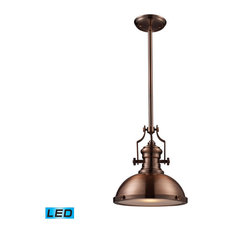 Elk Lighting Chadwick Mini Pendant Light Fixture, Antique Copper