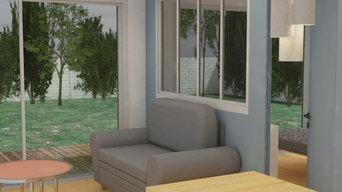 Vue 3D de la perspective sur le jardin