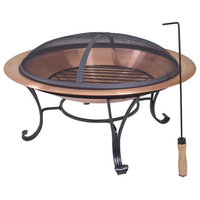 """Large 29"""" Outdoor Fire Pit in 100% Solid Copper WithScreen Cover"""