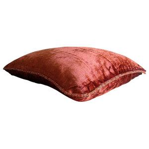 Rust Velvet Throw Cushion Cover, 50x50 Velvet Throw Cushion Cover, Rust Shimmer
