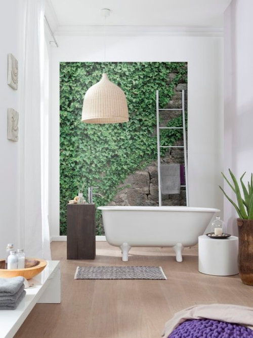 Contemporary Bathroom Design With Wall Mural Walk In Shower. Bathroom Wall Murals   Cxpz info