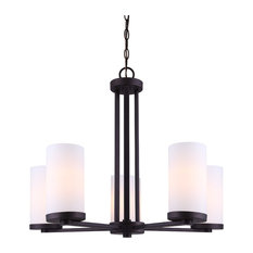 Canarm River 5-Light Chandelier With Flat Opal Glass, Oil Rubbed Bronze Finish