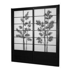 7' Tall Bamboo Tree Shoji Sliding Door Kit, Black
