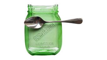 Canadian Melted Mason Jar Spoon Rest, Green Bernardin