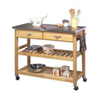 Natural Designer Utility Cart With Stainless Steel Top