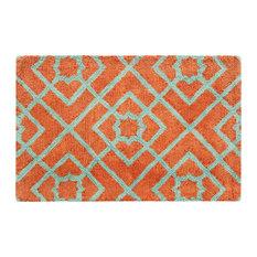 Diamond Lattice Door Mat, 2'x3', Coral