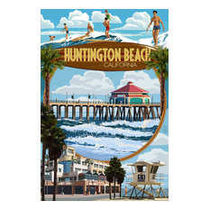 """Huntington Beach, California, Montage Scenes"" Print, 12""x18"""