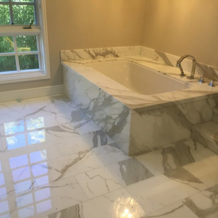 Pasadena Calcutta Gold Marble Bathroom