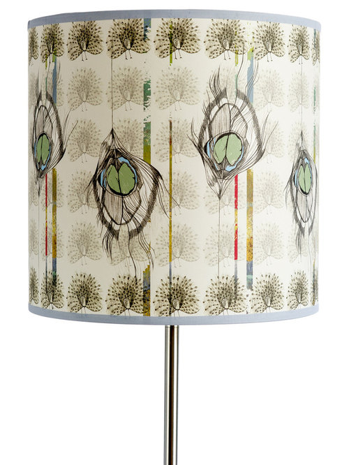 Undulating Feather Large Drum Light Shade - Lampshades