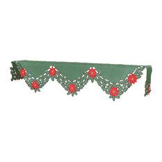 Holly Leaf Poinsettia Embroidered Cutwork Christmas Mantel Scarf