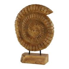 "Nautilus Shell Reclaimed Teak Wood Sculpture on Wood Stand 13""x20"""