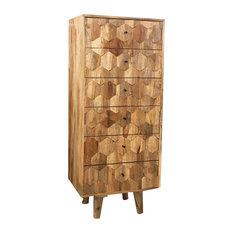 Hexagonal Light Mango Wood 6-Drawer Chest of Drawers