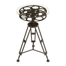 Metal Glass Accent Table a Tripod Table
