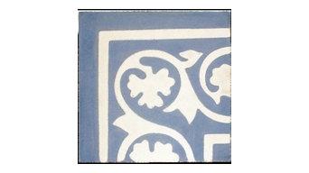 Encaustic, Vine Corner, Blue And White Tile