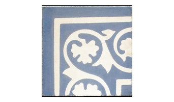 Encaustic, Vine Corner, Blue And White Tile