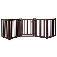 Highlander Series Solid Wood Pet Gate, 5-Panel Walk Through, Mahogany