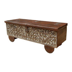 Sierra Living Concepts   Masterpiece Hand Carved Mango Wood Storage Trunk Coffee  Table   Coffee Tables